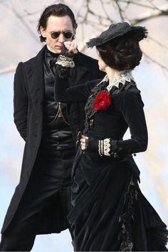 Tom Hiddleston and Jessica Chastain on the set of Crimson Peak