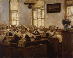 Max Liebermann - Nähschule im Amsterdamer Waisenhaus