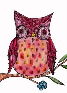 An owl.... inspired by another bloggy artists, but can't recall who....
