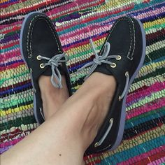 Black and purple leather Sperry Top-Sider W 7 Super cute shoes, goes with any outfit! Practically new shoes! Sperry Top-Sider Shoes Flats & Loafers