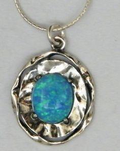 Opal silver pendant necklace Israeli jewelry