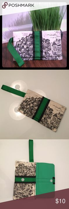 "One of a kind Wristlet Never used, custom made fabric Wristlet. Adorable country scene background fabric with green and black ribbon trim. Velcro closure. 5"" x 8"". Bags"