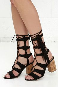 """With enough style power to rule a Roman empire, the Spartacus Black Suede Lace-Up Heels pack a big punch! A peep-toe upper with a lace-up design meets a cage-y 8"""""""" shaft with fringe and cutaway heel. #CuteDresses #TrendyTops, #FashionShoes #JuniorsClothing"""