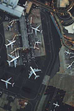 Aerial view of parked jets at an airport