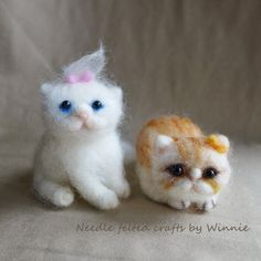 Needle felted Persian cats each sold by FunFeltByWinnie on Etsy, $48.00