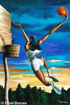 When I played bball it was back in the day when any sings of U playing like this was not allowed. As a black key player on the team I didn't even get reconized in school yearbook pictures, not even my name mention.... Thanks NFA..... art by....Ernie Barnes