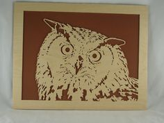 Owl Wood Art Portrait Handmade From Birch Wood By by KevsKrafts