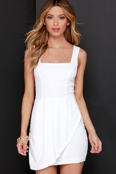 Ivory Ruffle Dress - White Dress - Sheath Dress - $44.00