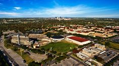 Birds-eye view of Texas Christian University and the city in Fort Worth, Texas