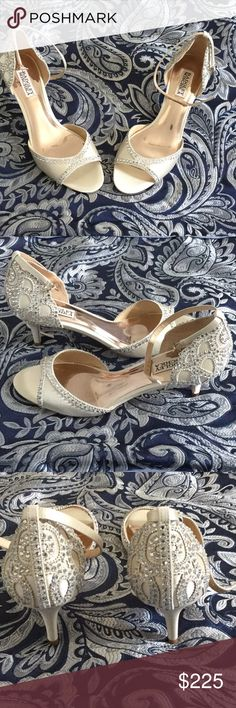 Badgley Mischka Gillian Ankle Strap Heels Brand new! I have only worn them to walk across the room in and back. The only reason why I do not have the box for these is because I let my son use it for a school project. I'm sure nobody would want that box now. 😆 Badgley Mischka Shoes Heels