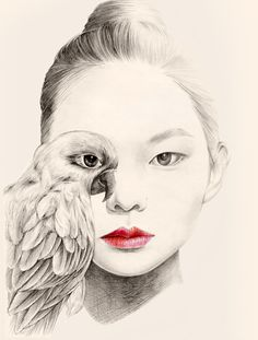 Seoul, Korea based artist okArt has created this collection of beautiful portrait illustrations, she has named the project 'The Girl and the Birds'. Pencil Drawings Of Girls, Bird Drawings, Cute Drawings, Drawing Sketches, Drawing Ideas, Art And Illustration, Portrait Illustration, Portraits Illustrés, Drawings Pinterest