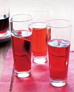 Champagne and creme de cassis (a blackcurrant liqueur), a classic French cocktail. For a casual affair, serve your Kir Royales in stemless glasses.