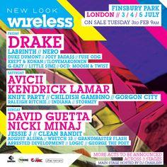 Get ready for Drake, Nicki Minaj, Kendrick Lamar and Childish Gambino to descend on Finsbury Park. David Guetta Nicki Minaj, Drake Nicki Minaj, Krept And Konan, Raleigh Ritchie, Gorgon City, Wireless Festival, Knife Party