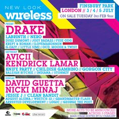 David Guetta, Avicii and Drake Headline Wireless Festival 2015, throughout July this summer. Tickets go on general Sale 9am Tuesday 3rd February.