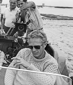 Steve McQueen in an Arran knit sweater.