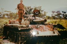 A FAPLA T-55 after shot out by SADF.
