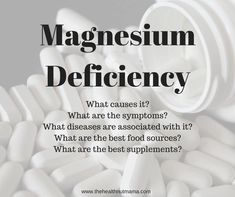Did you know that Magnesium Deficiency is one of the leading nutrient deficiencies in adults? Causes, Symptoms, Diseases linked to, Foods & Supplements. Magnesium Deficiency Causes, Best Supplements, Knowing You, Foods, Health, Food Food, Food Items, Health Care, Salud