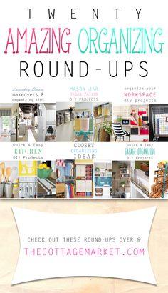 20 Amazing Organizing Round-Ups - The Cottage Market #Organizing, #OrganizingRound-Ups, #OrganizationalIdeas, #OrganizingDIYProjects, #DIYOrganizing
