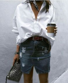 """824 Likes, 5 Comments - Enissablog (@myfashionstarpage) on Instagram: """"White shirt and jeans skirt#relaxstyle #freestyle #butfirstcoffee#sundaylook """""""