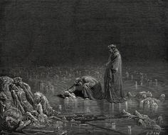 Dante and Virgil walking along the frozen Cocytus. Illustration by Gustave Dore for The Divine Comedy.