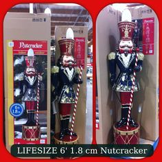 LIFESIZE nutcrackers just in time for Christmas!!!! Costco $249 each. Gotta get me a pair!!! A must!!!! They're beautiful 6'1.8 cm CAN'T WAIT!!!! - yessss we bought  2 of these bad boys waiting to adorn our front porch this Christmas 2013!!!! Yay