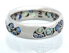 Rockpool ring. 18k white gold, green & blue sapphires.