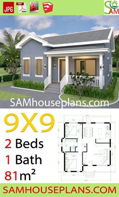 House Plans with 2 Bedrooms Gable Roof - Sam House Plans Modern Small House Design, Simple House Design, Tiny House Design, Layouts Casa, House Layouts, House Layout Plans, Simple House Plans, Tiny House Plans, One Bedroom House Plans