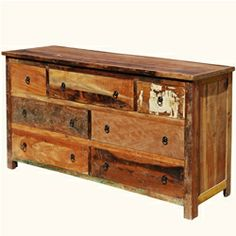 Rustic Reclaimed Wood Handcrafted 7 Drawer Dresser