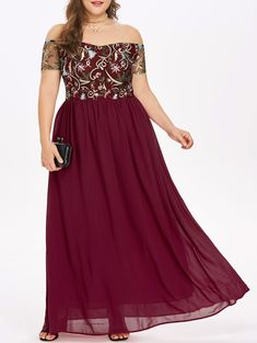 Plus Size Off The Shoulder Embroidery Maxi Dress Plus Size Maxi Dresses, Prom Dresses, Formal Dresses, Bride Dresses, Off The Shoulder, Shoulder Dress, Party Gown Dress, Plunge Dress, Travel Clothes Women