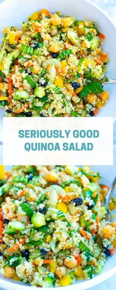 Our ultra-flavorful and satisfying quinoa salad recipe is packed with superfoods. It's vegan, easy to make, and tastes incredible. Whether you already love quinoa or don't cook it often, this will become your new go-to salad. Easy Summer Salads, Summer Salad Recipes, Quinoa Salad Recipes Easy, Chicken Quinoa Salad, Vegetarian Recipes, Cooking Recipes, Healthy Recipes, Apple Recipes, Couscous