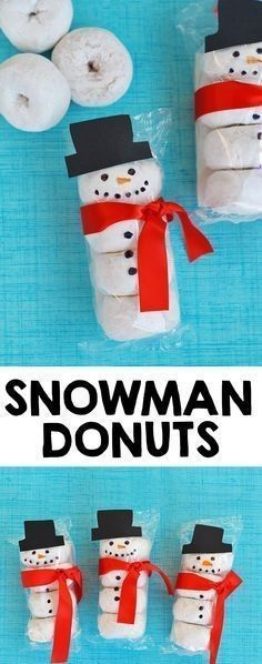 Donuts Kids Snack Idea - I Heart Arts n Crafts Snowman Donuts - What a cute idea for a classroom snack or fun treat for the kids!Snowman Donuts - What a cute idea for a classroom snack or fun treat for the kids! Noel Christmas, Christmas Goodies, Winter Christmas, Family Christmas, Christmas Eve Box For Kids, Christmas Party Treats For Kids, Christmas Music, Christmas Classroom Treats, Preschool Christmas Gifts For Classmates
