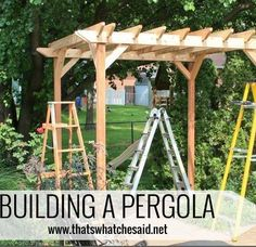 Cheryl Spangenberg's discussion on Hometalk. DIY Weekend Pergola Project - Join me as we build my dream of 8 years.a pergola. We accomplished it over the course of a 3 day weekend and YOU CAN TOO! Metal Pergola, Outdoor Pergola, Wooden Pergola, Pergola Plans, Diy Pergola, Pergola Ideas, Corner Pergola, Small Pergola, Pergola Canopy