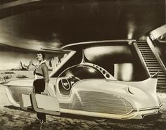 "Press photograph: A car from Mars (with the background of ""Forbidden Planet""...)."