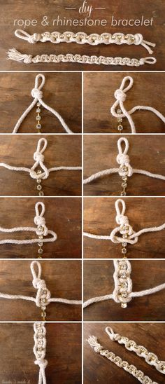 Thanks, I Made It: DIY Rhinestone & Rope Bracelet. (I personally don't like the rope and Rhine but I think it has interesting possibilities w other materials. Bracelet Crafts, Jewelry Crafts, Handmade Jewelry, Friendship Bracelets With Beads, Rope Bracelets, Micro Macramé, Diy Schmuck, Bijoux Diy, Jewelry Making Tutorials