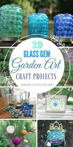 Glass Gem Garden Art Craft Projects Creative garden craft projects using glass garden gems from the dollar store.Creative garden craft projects using glass garden gems from the dollar store. Diy Garden Projects, Garden Crafts, Diy Garden Decor, Craft Projects, Craft Ideas, Diy Ideas, Creative Garden Ideas, Party Ideas, Decor Ideas