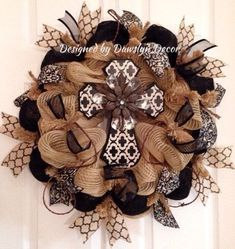 Beautiful burlap colored deco mesh wreath with black and white rustic cross by Dawslyn Decor on Etsy and Facebook. by sylvia