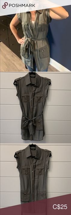 GUESS by Marciano cap sleep tunic Green button up cap-sleeve shirt made. Size XS, barely worn. Guess by Marciano Tops Tunics