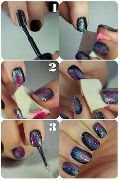 Galaxy nail art.. diy!