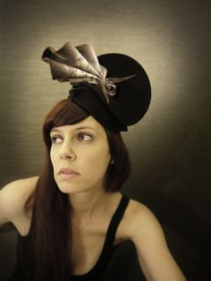 Avant Garde Black Felt Hat with Purple and Cream by pookaqueen, $160.00