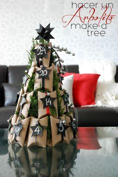 diy-advent-calendar-tree from recycled toilet paper rolls at Casa Haus