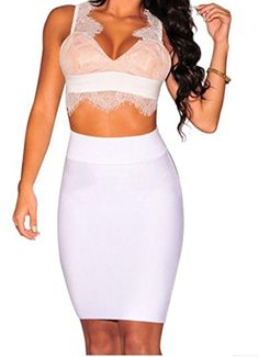 YFFaye Women's Fringe Lace Nude Illusion Padded Crop Top White - Brought to you by Avarsha.com
