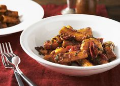 Australian Gourmet Traveller and Salvatore Pepe Italian pasta main course recipe for rigatoni with nduja and prawns