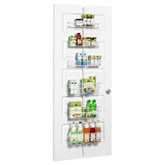 """Maximize your pantry space!  Our innovative, top-rated elfa Door & Wall Rack system makes the most of often-wasted vertical space on a door or wall and is totally customizable!  The six baskets can be easily repositioned to fit your storage needs.  It's easy to remove one of the baskets if you need to take ingredients to another area.  If you need a different arrangement of baskets, you can select any configuration using our <a href=""""/elfa/rackplanner/index.htm"""">elfa Door & Wall Rack…"""