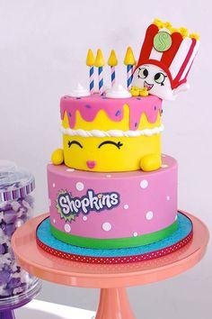 Birthday cake from Stylish Shopkins Birthday Party at Kara's Party Ideas. See more at karaspartyideas.com!