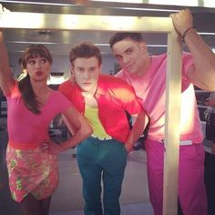 Lea Michele, Chord Overstreet, and Mark Salling<<< can we take a moment to appreciate how good Mark looks in pink??