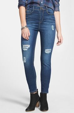 Free shipping and returns on SP Black Deconstructed High Waist Skinny Jeans (Dark Wash) (Juniors) at Nordstrom.com. Threadbare holes, whiskering and fading lend artful effortlessness to high-rise skinnies highlighted by contrast topstitching.