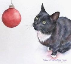 """""""Panther's First Christmas"""", watercolor holiday tuxedo cat painting by animal artist Teresa Silvestri.  Original sold, but fine art prints & cards available."""