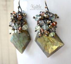 Sale Labradorite Earrings Green Gold Pyrite Spring by Kande, $119.00