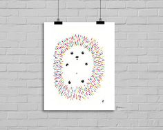 Rainbow hedgehog illustration watercolor and ink drawing by LittleCatDraw on Etsy