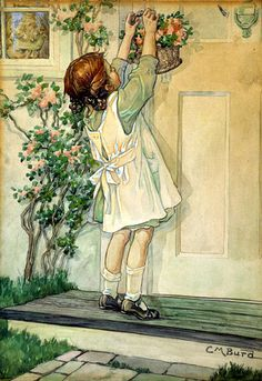 """Clara M. Burd's """"Girl Placing Basket on Door,"""" (1915). Original source is likely the American Illustrators Gallery website, but I linked this pin through a flickr account."""